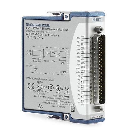 NI-9252 DSUB, 8-Ch, +/-10 V, 50kS/s/ch, 24-Bit
