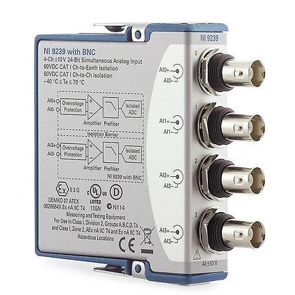 NI 9239 BNC, 4-Ch +/-10 V, 50 kS/s/Ch,24-Bit, Ch-Ch ISO AI Module