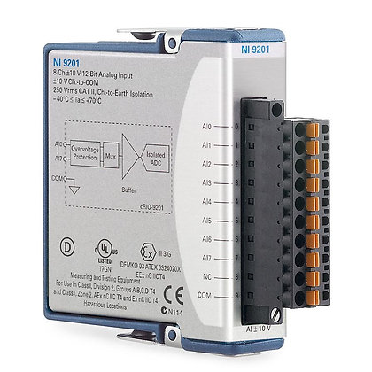 NI 9201 Spring Term, +/-10 V, 12-Bit, 500 kS/s, 8-Ch AI Module