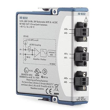 NI 9232 3-Ch �30V, 102.4 kS/s, 24 Bit IEPE Analog Input Module