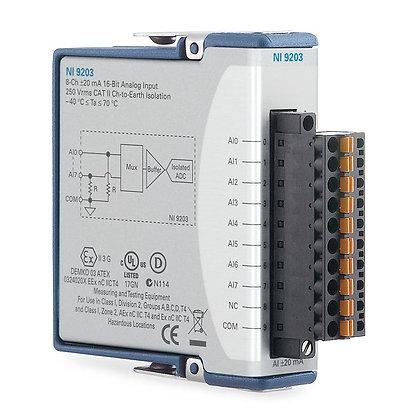 NI 9203 Spring Term, +/-20 mA, 16-Bit, 200 kS/s, 8-Ch AI Module
