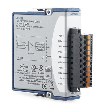 NI 9263 Spring Term, +/-10 V, 16-Bit, 100 kS/s/ch, 4-Ch AO Module