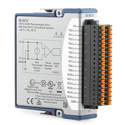 NI 9213 Spring, 16-ch TC, 24-bit, 75 S/s AI module