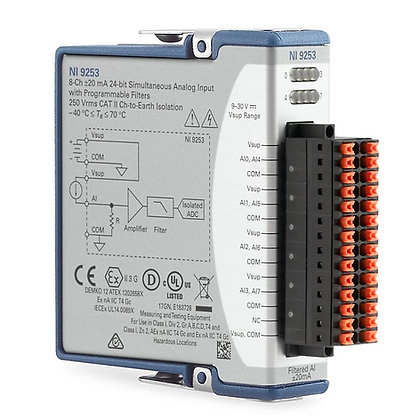 NI-9253, 8-Ch, +/- 20 mA, 50kS/s/ch, 24-Bit filtered