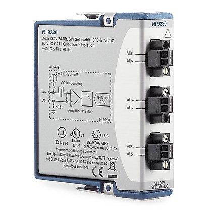 NI 9230 CC,3-Ch, +/-30 V, 12.8 kS/s/ch, 24-Bit, IEPE AI Module,CC