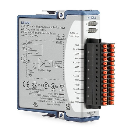 NI-9253 Conformal Coated, 8-Ch, +/- 20 mA, 50kS/s/ch, 24-Bit filtered