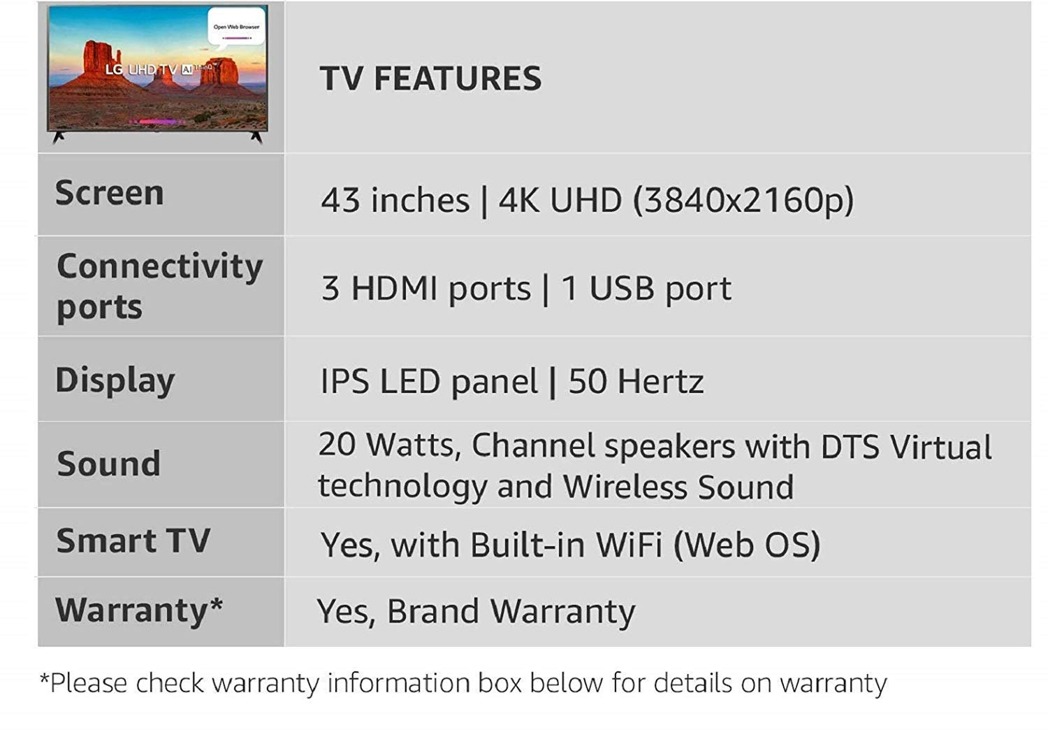 LG 108 cm (43 Inches) 4K UHD LED Smart TV 43UK6360PTE (Black) | Shanti  Sales Corp