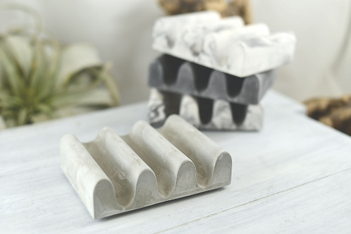Concrete Soap Dish Curved - Self Draining