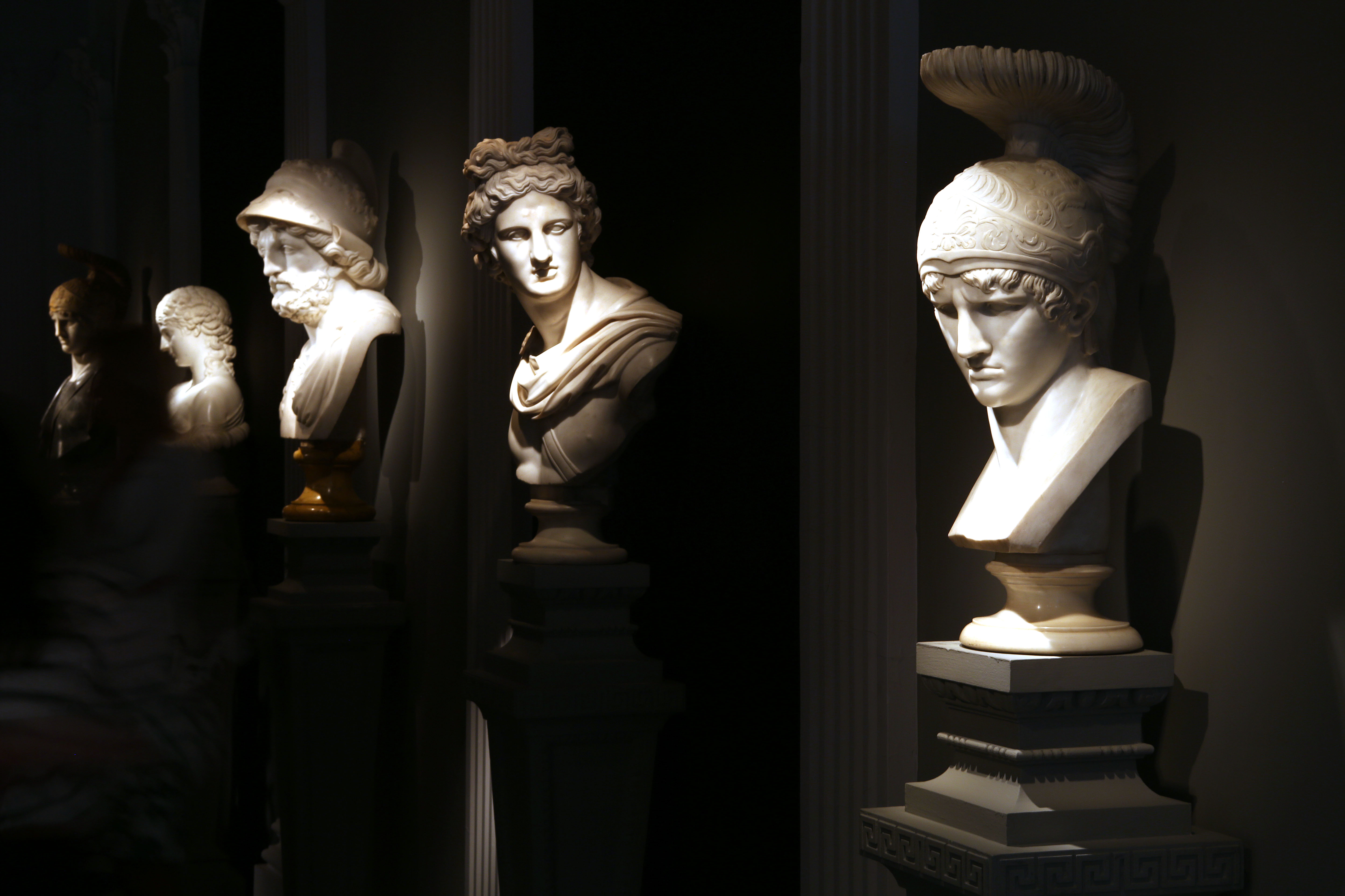 Marble busts.