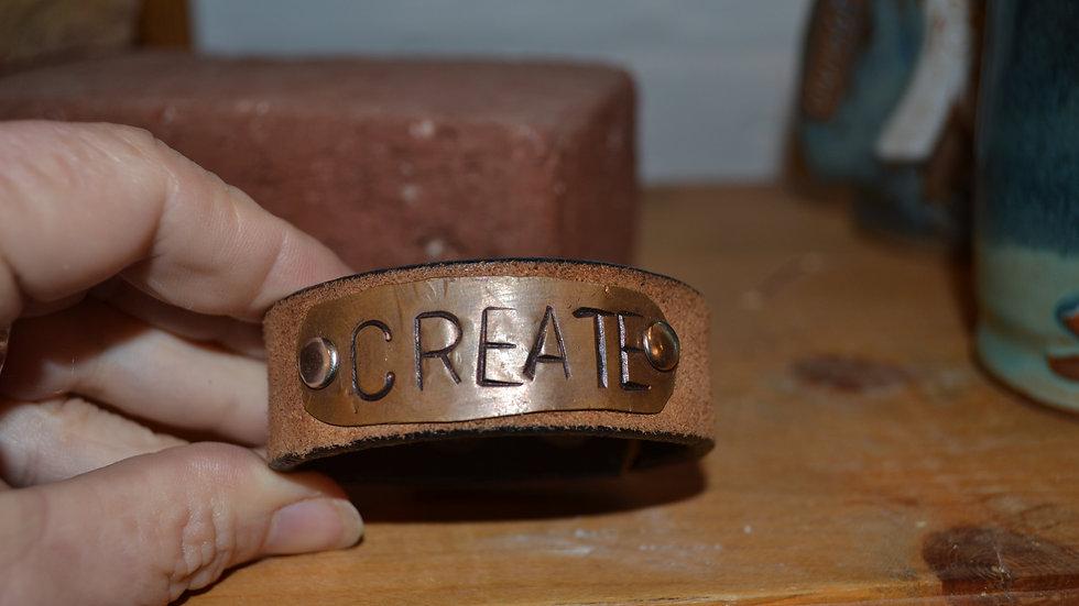 Leather & copper cuff