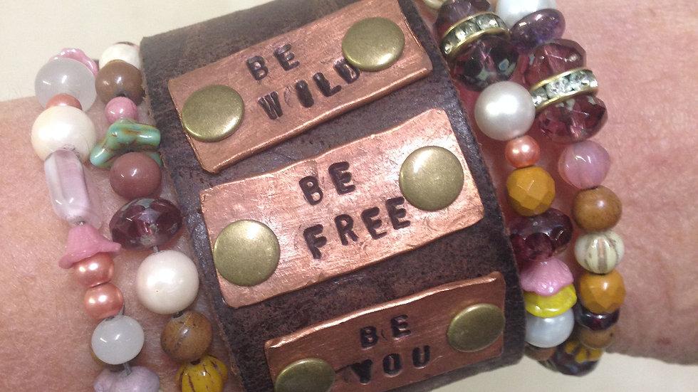 Custom leather & copper cuff bracelets