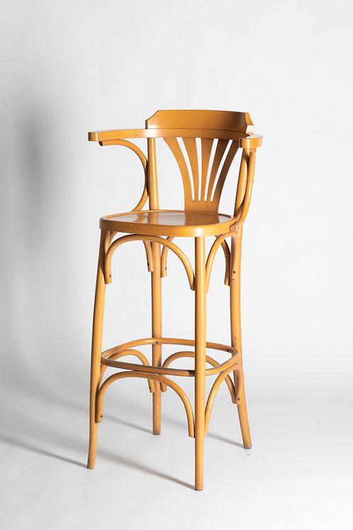 Visok lesen barski stol (z naslojalom)