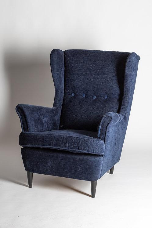 Eleganten naslonjač v temno modri barvi