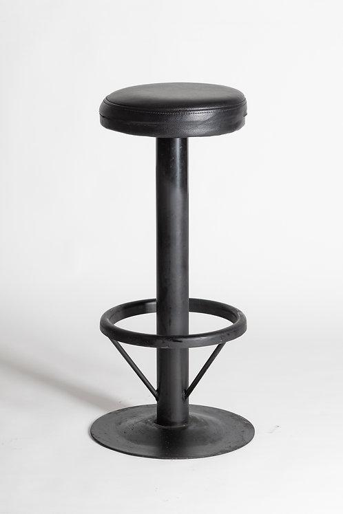 Visok usnjen barski stol - črn