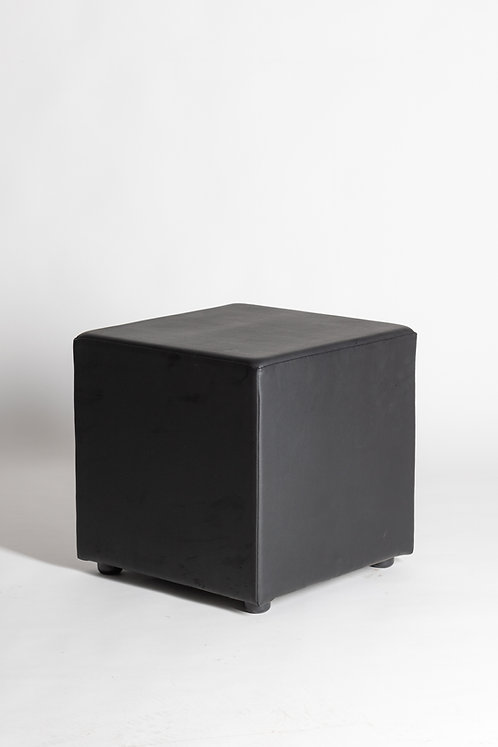 Usnjen tabure v črni barvi