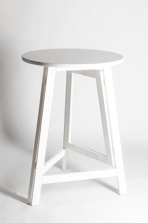 Visoka lesena zložljiva barska miza v beli barvi (3 noge)