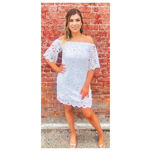 White Off The Shoulder Dress In Crocheted Lace Pattern