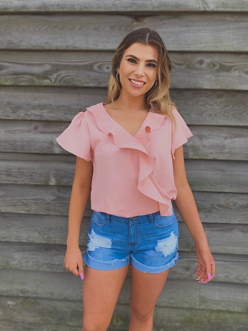 Pale Pink Top With Ruffle Detail Nursing Friendly