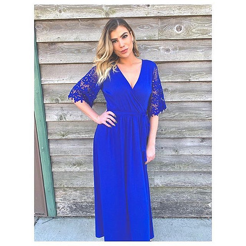 Royal Blue Maxi Wrap Dress With Sleeve Detail
