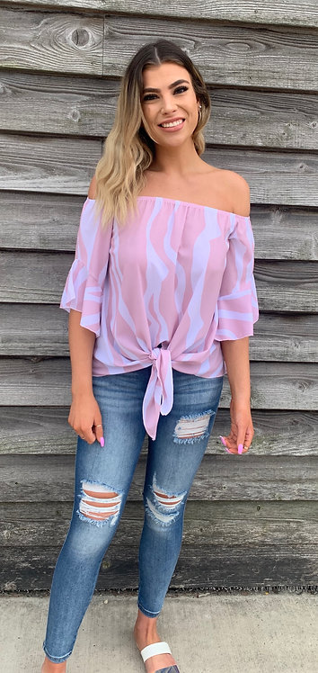 Off The Shoulder Pale Pink Striped Top With Tie