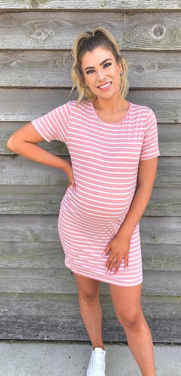 Maternity Pink & White Striped Tee Shirt Dress