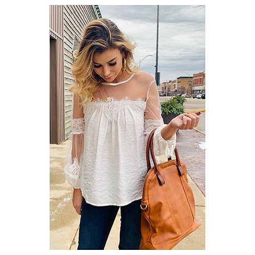 White Top With Sheer Detail