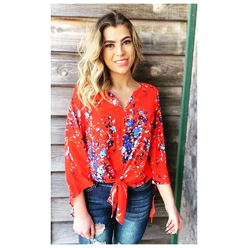 Red And Floral Top With Tie Waist