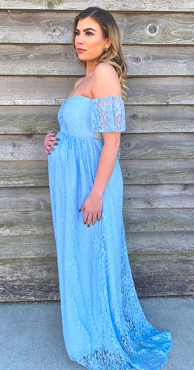 Maternity Lace Gown With Train in Blue