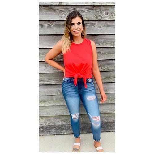 Red Sleeveless Top With Waist Tie