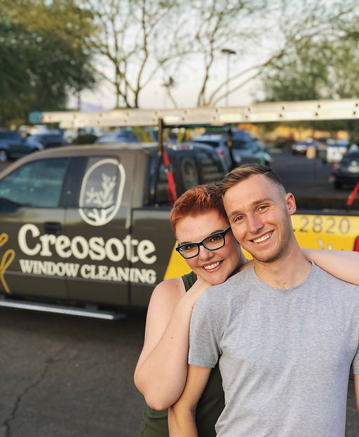 Andy Izard and Kayla Izard, founders of Creosote Window Cleaning.