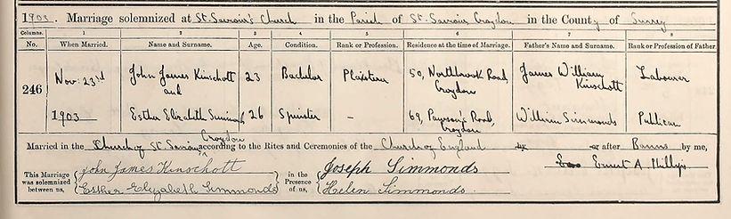 John Kinschott and Esther Simmonds Marri