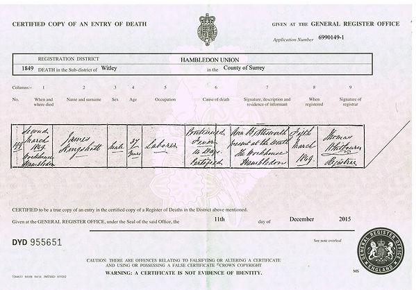 James Kingshott 1811-1849 Death Certific
