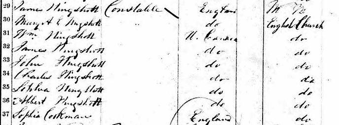 James Kingshott family in Canada 1861 Ce