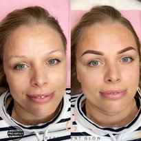Ombre Powder Glow Brows before and after
