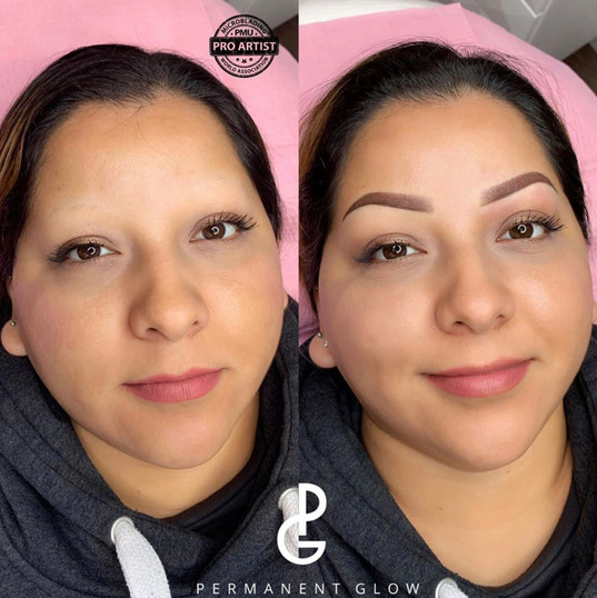 Ombre Powder Glow eyebrows before and after