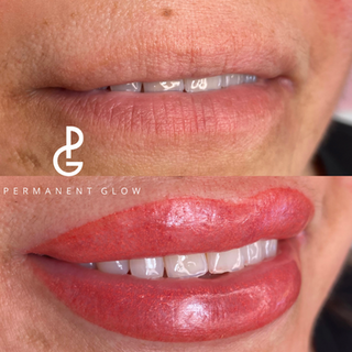 Lip blush before and after done by Permanent Glow