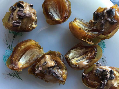 Stuffed Dates with almond butter + cacao