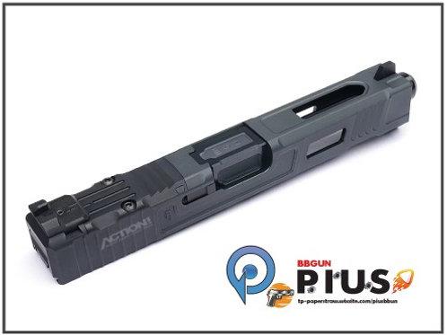 NOVA - FI Style 17樣式 鋁合金CNC滑套&外管組 (鈦黑/黑)(MARUI/WE G17專用)