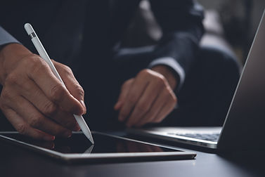 Businessman, lawyer using electronic pen with tablet