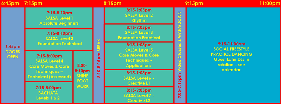 Thursday Schedule Line-up Timetable 2b..