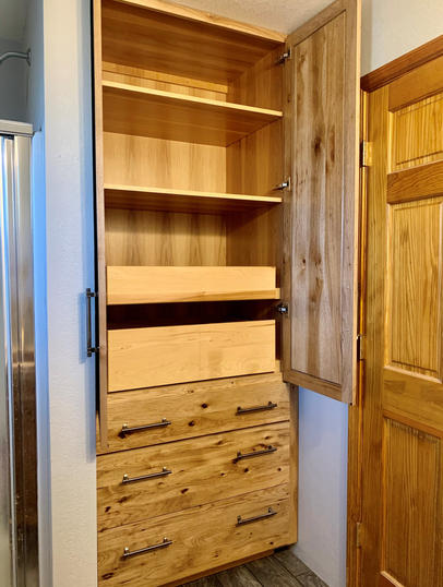 Bathroom Linen Cabinet- Stained Hickory.