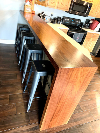Solid Wood Walnut Waterfall Bar Top