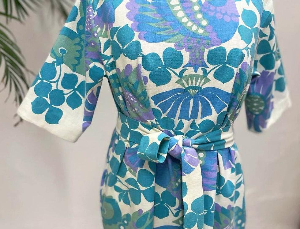 Tee blue bird slit dress