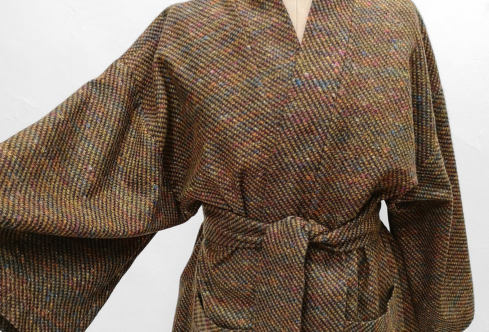 Brown rainbow melange kimono
