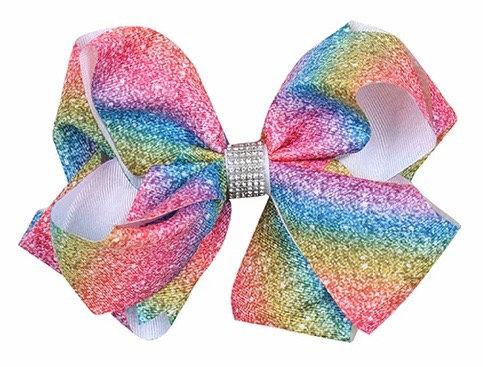 """Sparkly Rainbow Bow 5-7"""""""