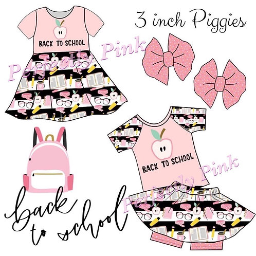 """3"""" Fabric Piggy Bow Set  (Back To School In Pink) Preorder Ends 4/30"""
