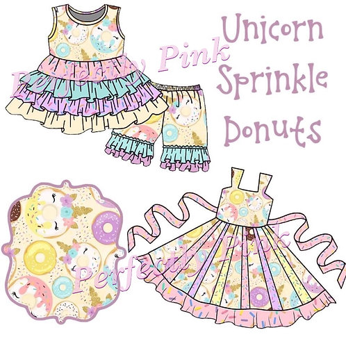 Unicorn Sprinkle Donuts Set & Dress Preorder Ends 4/23