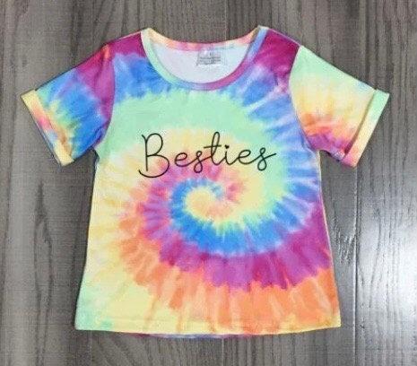 Besties Tie Dye Swirls T Shirt