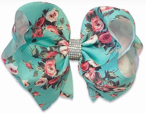 Floral Blue Floral Vintage Bow