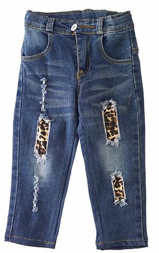 Distressed Leopard Jeans